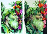 Man with beard and flowers
